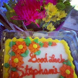 good luck cake flowers coworkers job friends stephanie hughes stolen colon crohns ostomy blog